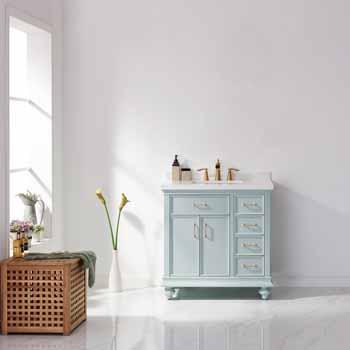 Vinnova Bath Vanity 36'' Finnish Green No Mirror Lifestyle