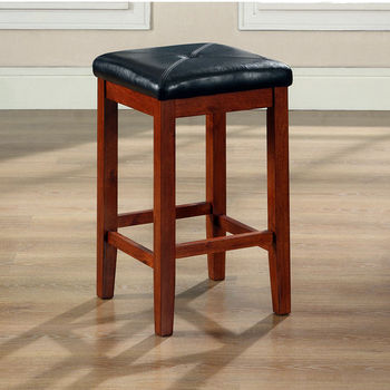 Crosley Furniture Upholstered Square Seat Bar Stool in Classic Cherry Finish with 24 Inch Seat Height
