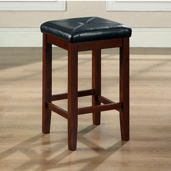 Crosley Furniture Upholstered Square Seat Bar Stool in Vintage Mahogany Finish with 24 Inch Seat Height