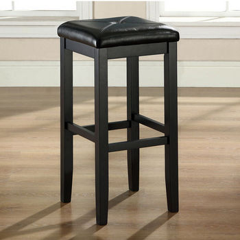 Crosley Furniture Upholstered Square Seat Bar Stool in Black Finish with 29 Inch Seat Height