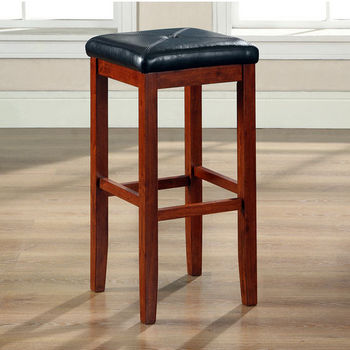Crosley Furniture Upholstered Square Seat Bar Stool in Vintage Mahogany Finish with 29 Inch Seat Height