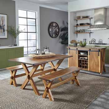 3-Piece Set - Dining Table & 2 Benches