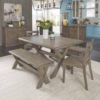 Flexsteel Mountain Lodge Rectangular Multi Colored Gray 5 Piece Dining Table Bench And Chair Set By Home Styles Kitchensource Com