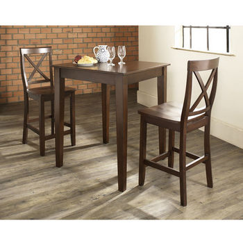 crosley furniture 3 piece pub dining set with tapered leg and xback stools in vintage mahogany finish