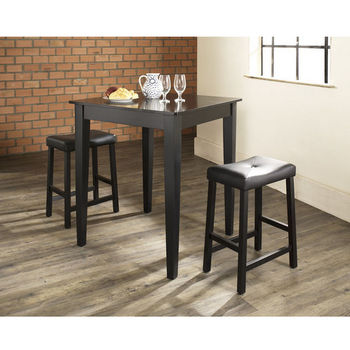 Crosley Furniture 3 Piece Pub Dining Set with Tapered Leg and Upholstered Saddle Stools