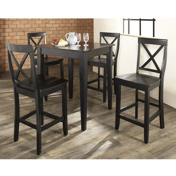 Crosley Furniture 5 Piece Pub Dining Set with Tapered Leg and X-Back Stools
