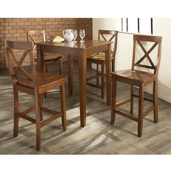 Crosley Furniture 5 Piece Pub Dining Set With Tapered Leg And X Back Stools  In Classic Cherry Finish