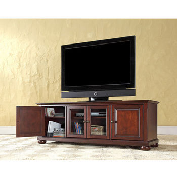 "Crosley Furniture Alexandria 60"" Low Profile TV Stand in Vintage Mahogany Finish"
