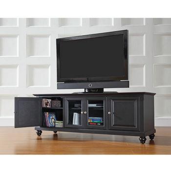 """Crosley Furniture Cambridge 60"""" Low Profile TV Stand in Black Finish"""