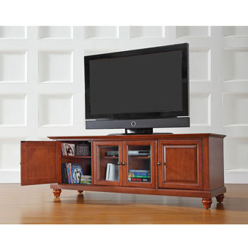 """Crosley Furniture Cambridge 60"""" Low ProfileTV Stand in Classic Cherry Finish"""