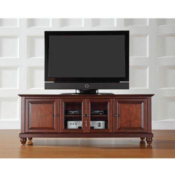 "Crosley Furniture Cambridge 60"" Low Profile TV Stand in Vintage Mahogany Finish"