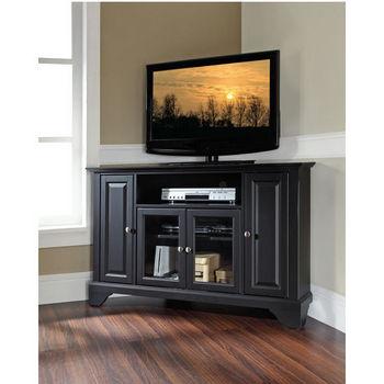 "Crosley Furniture LaFayette 48"" Corner TV Stand in Black Finish"
