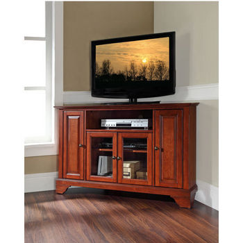 "Crosley Furniture LaFayette 48"" Corner TV Stand in Classic Cherry Finish"