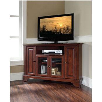 "Crosley Furniture LaFayette 48"" Corner TV Stand in Vintage Mahogany Finish"