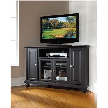 """Crosley Furniture Cambridge 48"""" Corner TV Stand in Black Finish"""