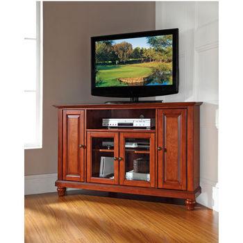 """Crosley Furniture Cambridge 48"""" CornerTV Stand in Classic Cherry Finish"""