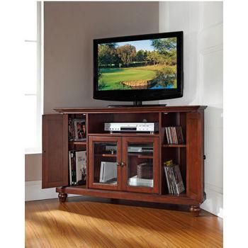 "Crosley Furniture Cambridge 48"" Corner TV Stand in Vintage Mahogany Finish"