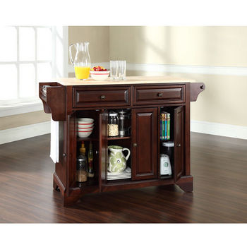 Crosley Furniture LaFayette Natural Wood Top Kitchen Island in Vintage Mahogany Finish