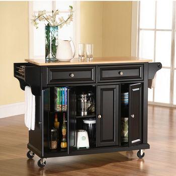 Crosley Furniture Natural Wood Top Kitchen Cart/Island