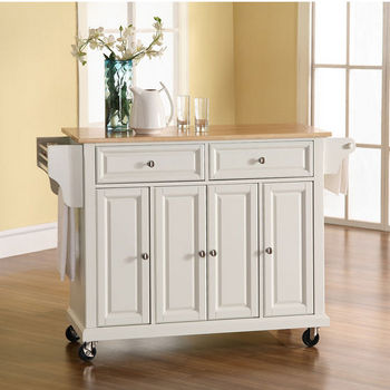 Crosley Furniture Natural Wood Top Kitchen Cart Or Island In Black Classic Cherry Or White Kitchensource Com