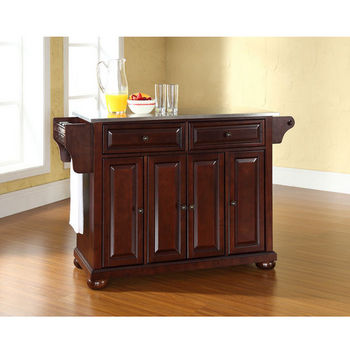 Crosley Furniture Alexandria Stainless Steel Top Kitchen Island in Vintage Mahogany Finish