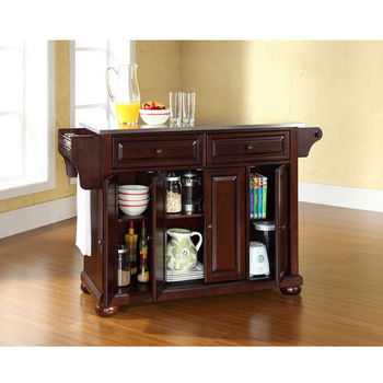 Alexandria Stainless Steel Top Kitchen Island In Classic Cherry photo - 8
