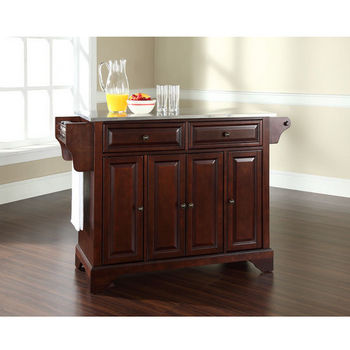 Crosley Furniture LaFayette Stainless Steel Top Kitchen Island in Vintage Mahogany Finish