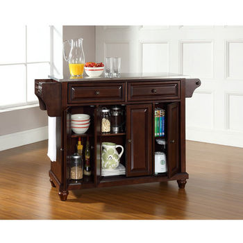 Crosley Furniture Cambridge Stainless Steel Top Kitchen Island in Vintage Mahogany Finish