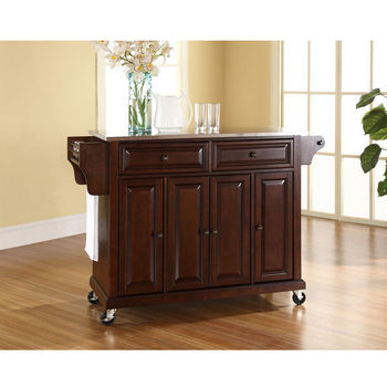 Crosley Furniture Stainless Steel Top Kitchen Cart/Island in Vintage Mahogany Finish