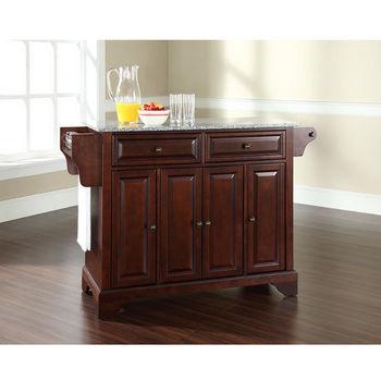 Crosley Furniture LaFayette Solid Granite Top Kitchen Island in Vintage Mahogany Finish