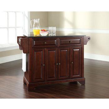 Crosley Furniture LaFayette Solid Black Granite Top Kitchen Island in Vintage Mahogany Finish