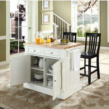 Crosley Furniture Butcher Block Top Kitchen Island With Stools In White Finish Kitchensource Com