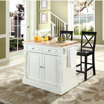 """Crosley Furniture Butcher Block Top Kitchen Island in White Finish with 24"""" Black X-Back Stools"""