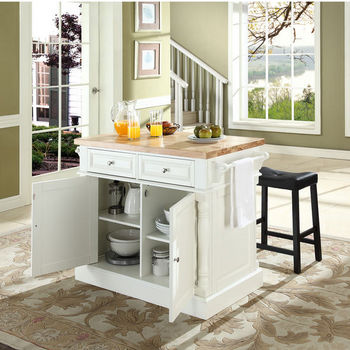 """Crosley Furniture Butcher Block Top Kitchen Island in White Finish with 24"""" Black Upholstered Saddle Stools"""