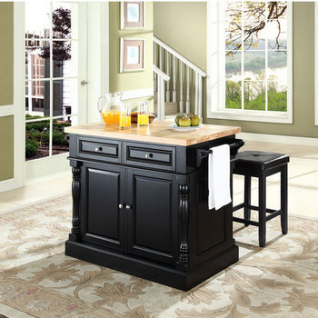 """Crosley Furniture Butcher Block Top Kitchen Island in Black Finish with 24"""" Black Upholstered Square Seat Stools"""