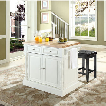 """Crosley Furniture Butcher Block Top Kitchen Island in White Finish with 24"""" Black Upholstered Square Seat Stools"""