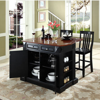 "Crosley Furniture Drop Leaf Breakfast Bar Top Kitchen Island in Black Finish with 24"" Black School House Stools"