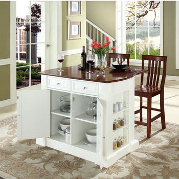 """Crosley Furniture Drop Leaf Breakfast Bar Top Kitchen Island in White Finish with 24"""" Cherry School House Stools"""