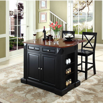"Crosley Furniture Drop Leaf Breakfast Bar Top Kitchen Island in Black Finish with 24"" Black X-Back Stools"