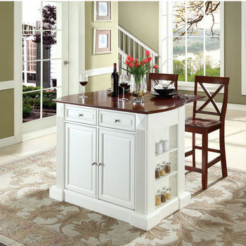 """Crosley Furniture Drop Leaf Breakfast Bar Top Kitchen Island in White Finish with 24"""" Cherry X-Back Stools"""
