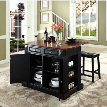 "Crosley Furniture Drop Leaf Breakfast Bar Top Kitchen Island in Black Finish with 24"" Black Upholstered Saddle Stools"