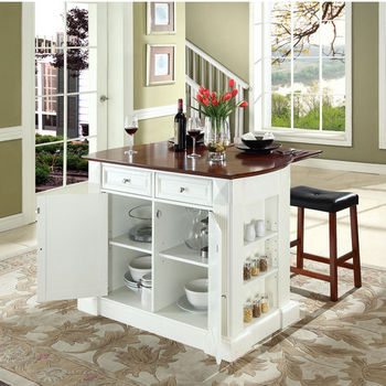 """Crosley Furniture Drop Leaf Breakfast Bar Top Kitchen Island in White Finish with 24"""" Cherry Upholstered Saddle Stools"""