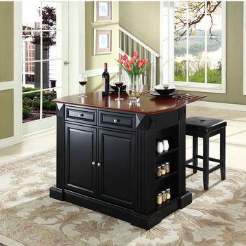"Crosley Furniture Drop Leaf Breakfast Bar Top Kitchen Island in Black Finish with 24"" Black Upholstered Square Seat Stools"
