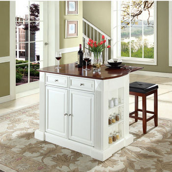 """Crosley Furniture Drop Leaf Breakfast Bar Top Kitchen Island in White Finish with 24"""" Cherry Upholstered Square Seat Stools"""