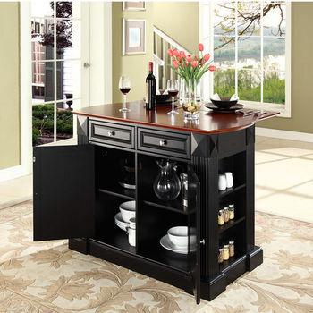 Crosley Furniture Drop Leaf Breakfast Bar Top Kitchen Island in Black Finish
