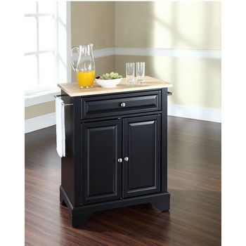 Crosley Furniture LaFayette Natural Wood Top Portable Kitchen Island in Black Finish