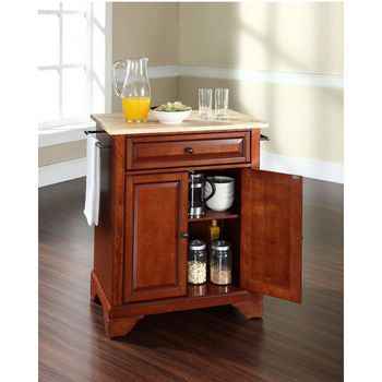Crosley Furniture LaFayette Natural Wood Top Portable Kitchen Island in Classic Cherry Finish