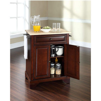 Crosley Furniture LaFayette Natural Wood Top Portable Kitchen Island in Vintage Mahogany Finish