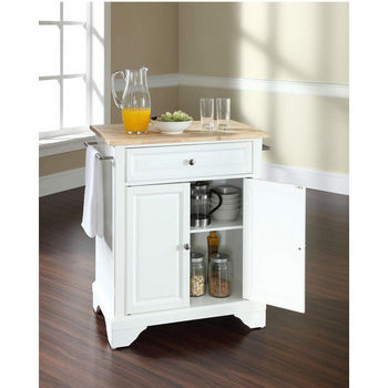 Crosley Furniture LaFayette Natural Wood Top Portable Kitchen Island in White Finish