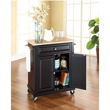 Crosley Furniture Natural Wood Top Portable Kitchen Cart/Island in Black Finish